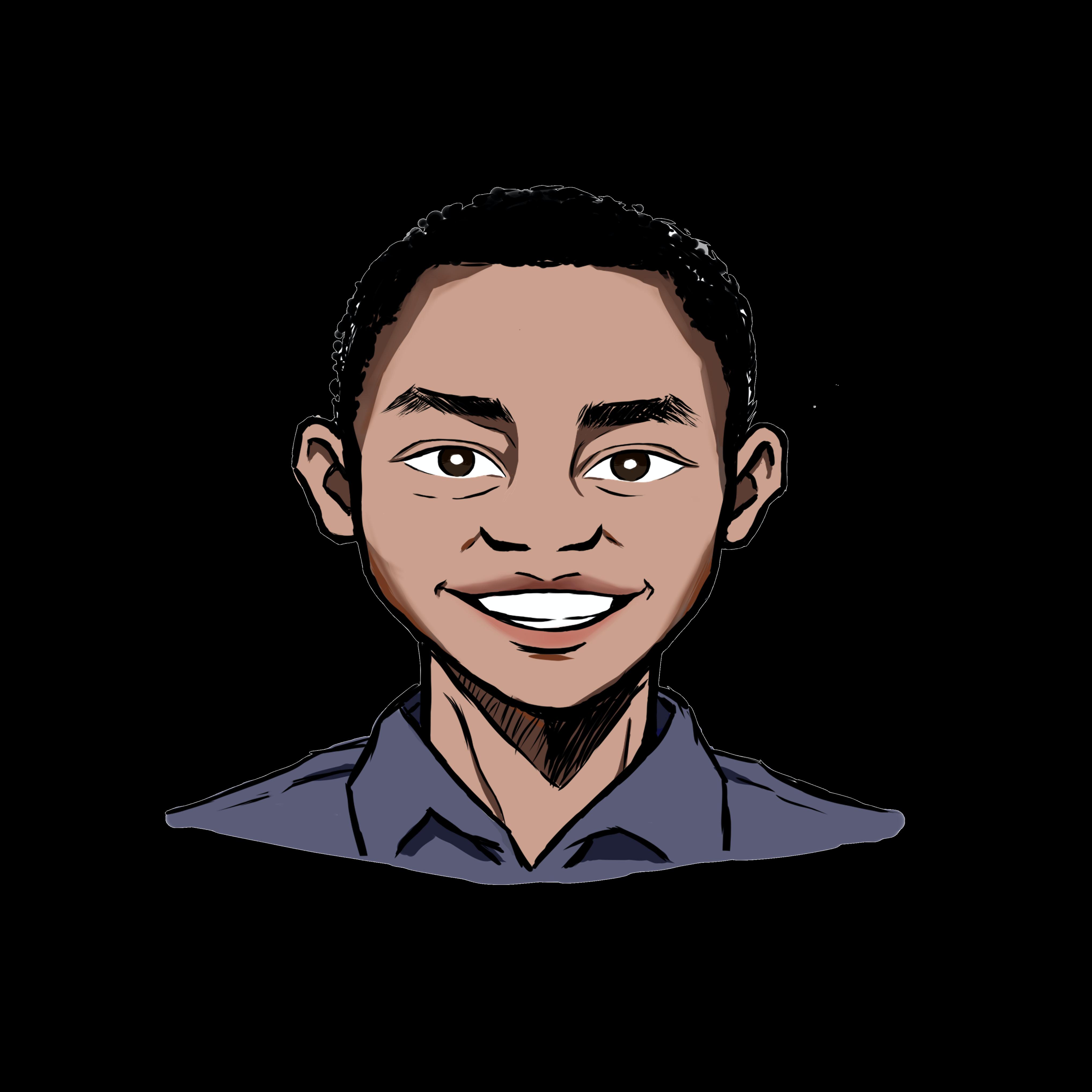 Illustrated headshot of team member, Moses