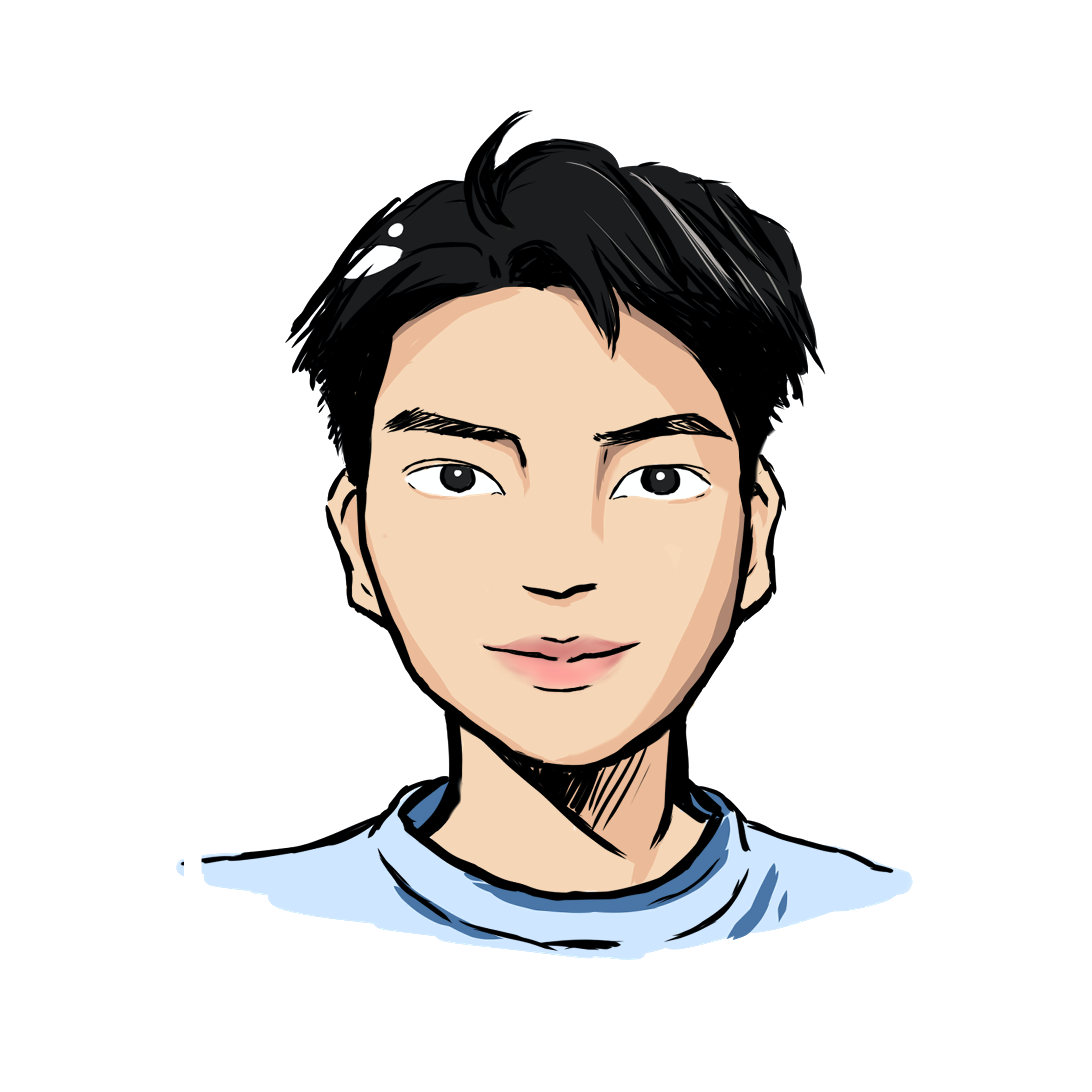 Illustrated headshot of team member, Alex