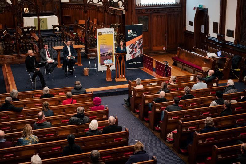 speaker from innner city wellington presents in the church