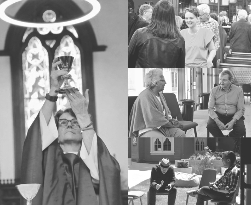 collage of images including female priest elevating chalice, women greeting each other, and others seated having conversations