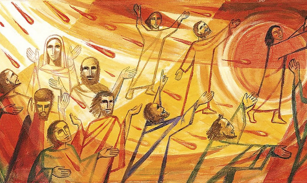 painting of men and women at pentecost