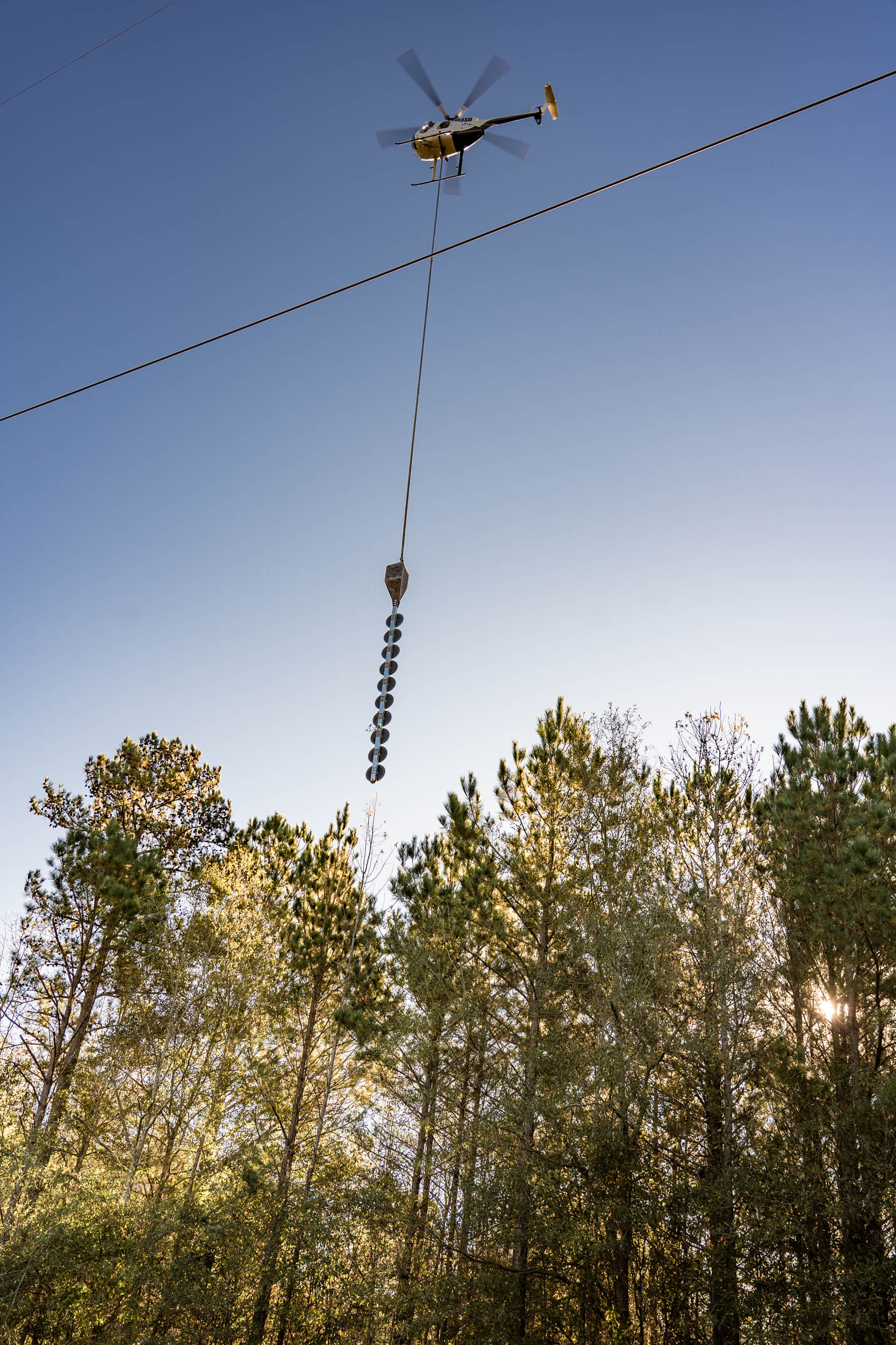 Gunnison Tree Services maintains right of ways with a helicopter-mounted saw