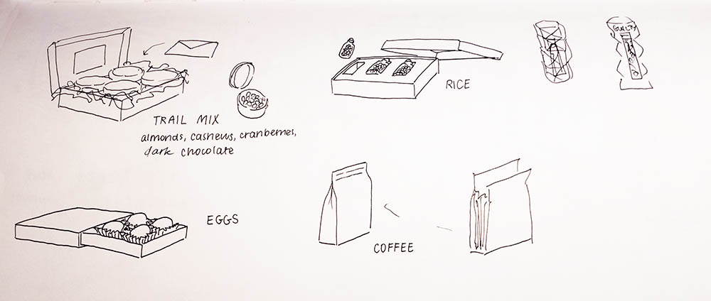 Sketches of different healthy foods placed into packaging typically for high end luxury foods. There is trail mix packed into tin jars and nestled in a box and eggs placed in little plastic wrappers like chocolates.