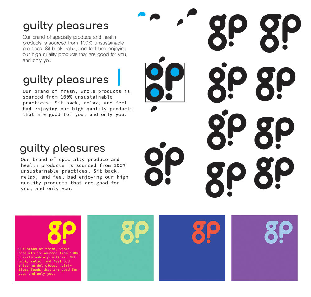 Variations of the Guilty Pleasures logo made out of circles. Various colour combinations are shown from left to right: yellow on neon pink, light green on teal, red-orange on blue, and light blue on purple. All are extremely saturated.