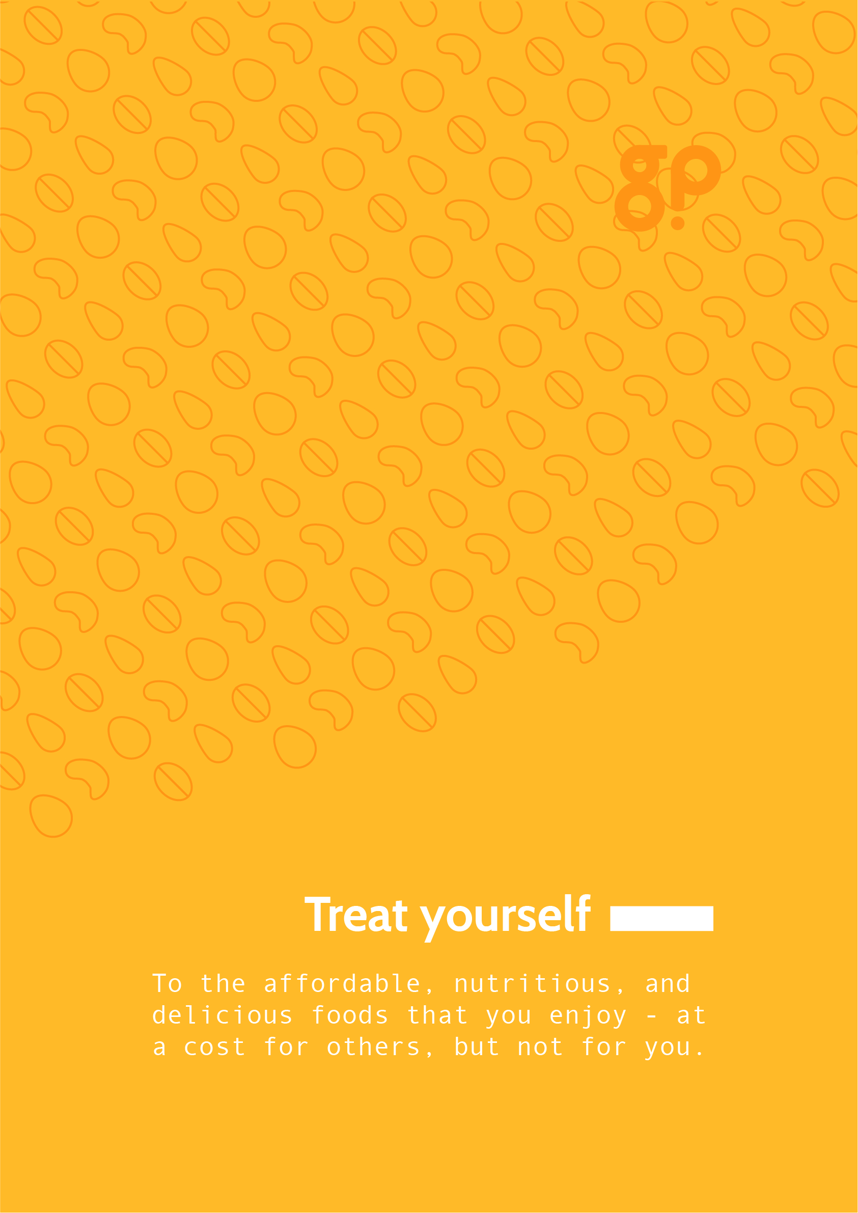 """A yellow Guilty Pleasures promotional poster with the words """"Treat yourself""""."""