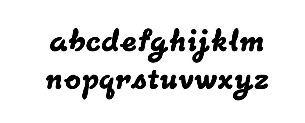 The lowercase Latin alphabet set in the typeface Milkshake.