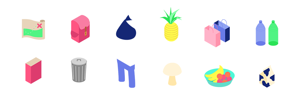 Two rows of isometric illustrations of various game items. From left to right, top to bottom: a map, backpack, trash bag, a pineapple, shopping bags, plastic bottles, a book, a trash can, pants, a mushroom, a bowl of fruit, and a carton of milk.