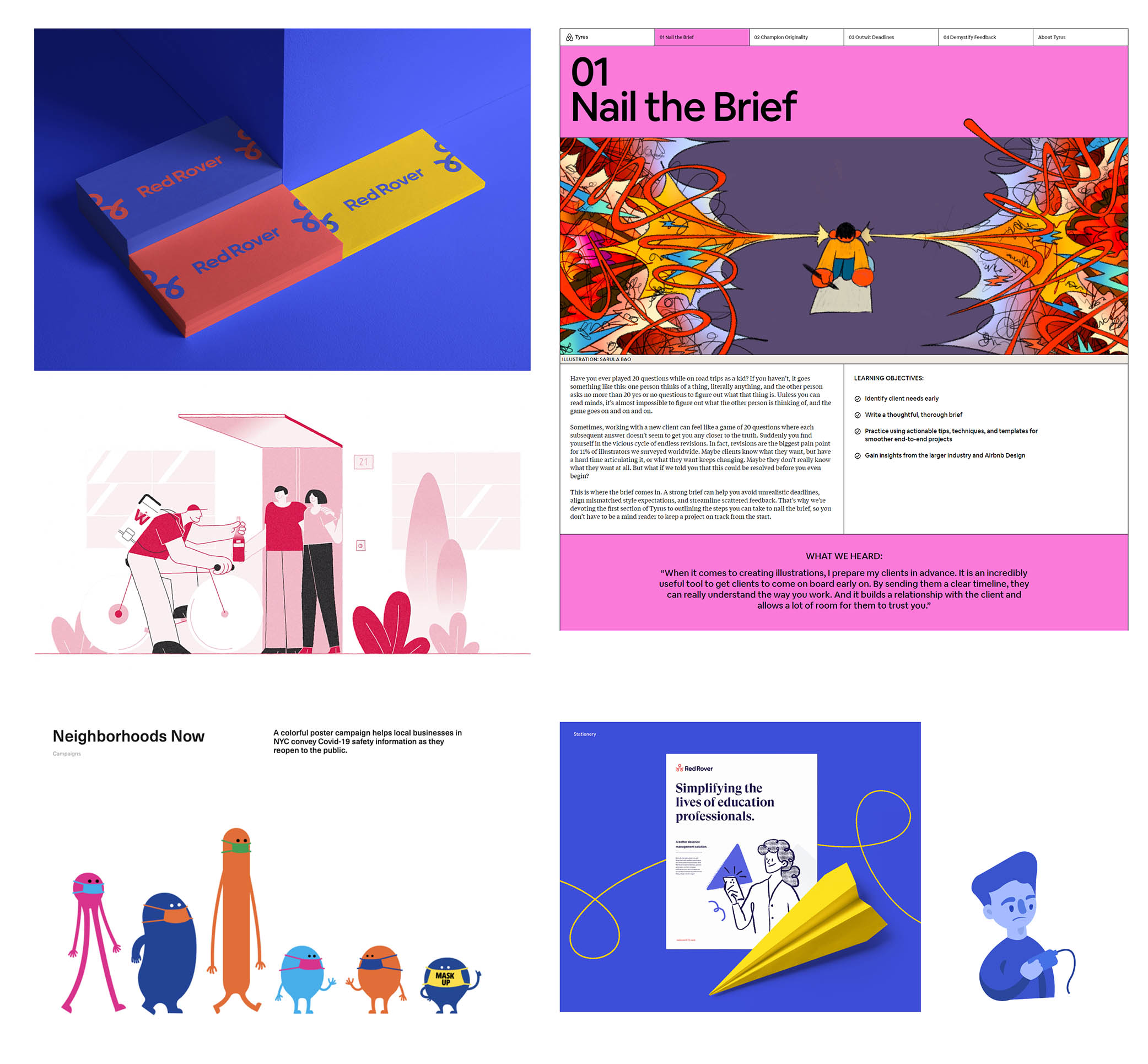 A colourful blue and magenta mood board featuring cartoon-like illustration styles and flat blocks of colour.