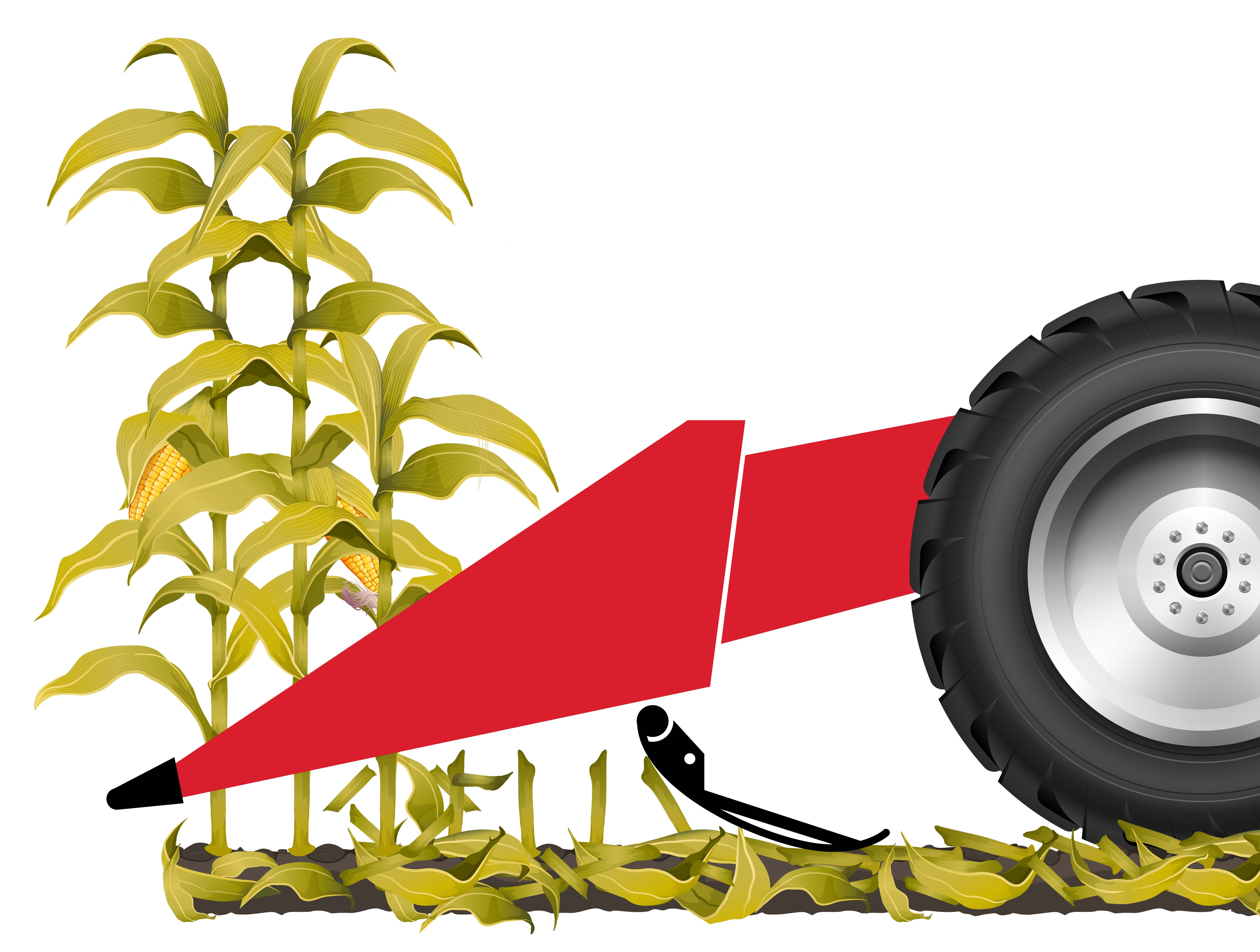 Installing a stubble deflection device on your combine's header is probably the single best investment you can make to protect your tires and tracks from stubble damage.
