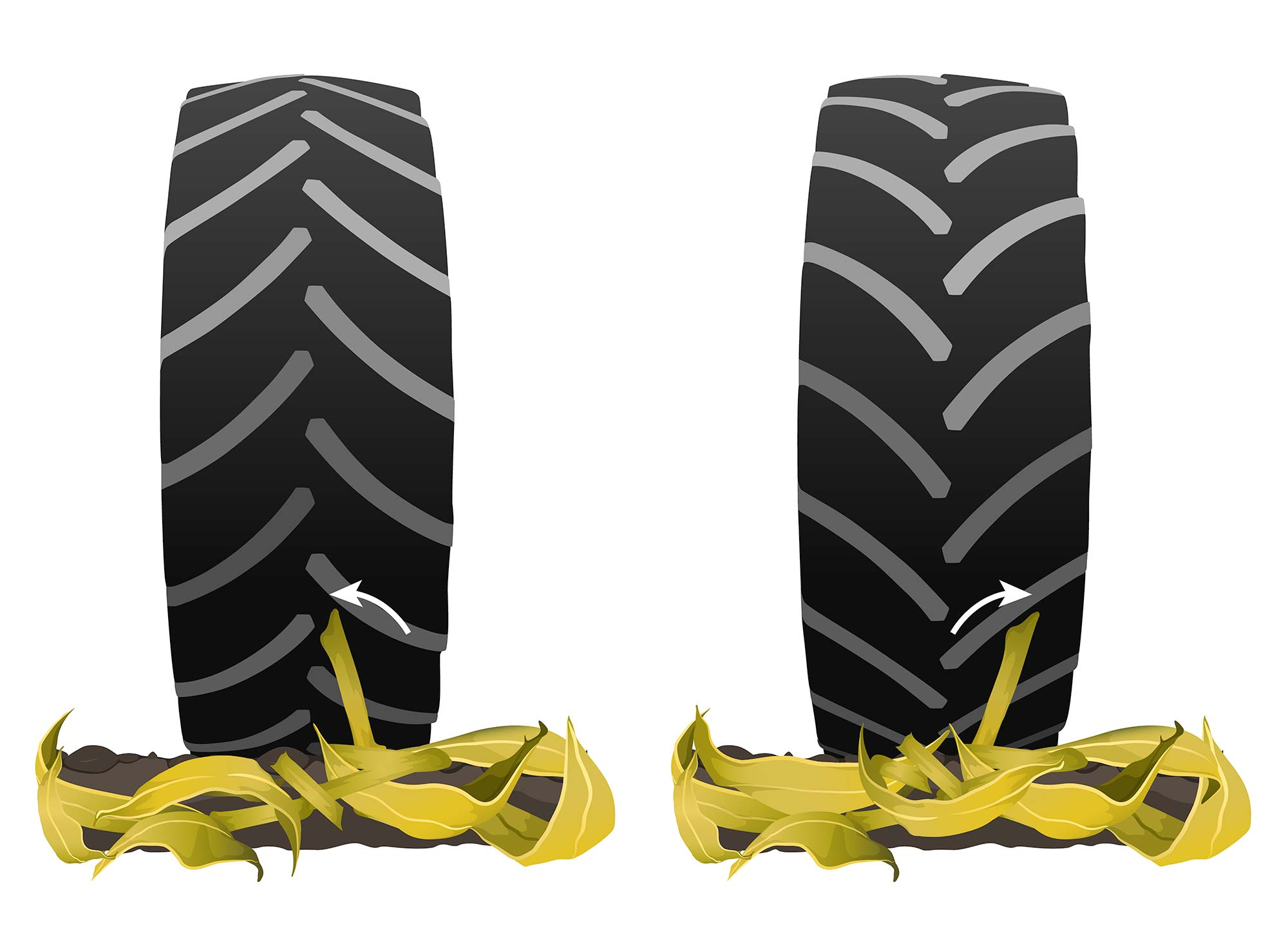 Running your combine's rear tires forwards instead of backwards help to reduce stubble damage to your tires by guiding stalks away from the center of your tire.
