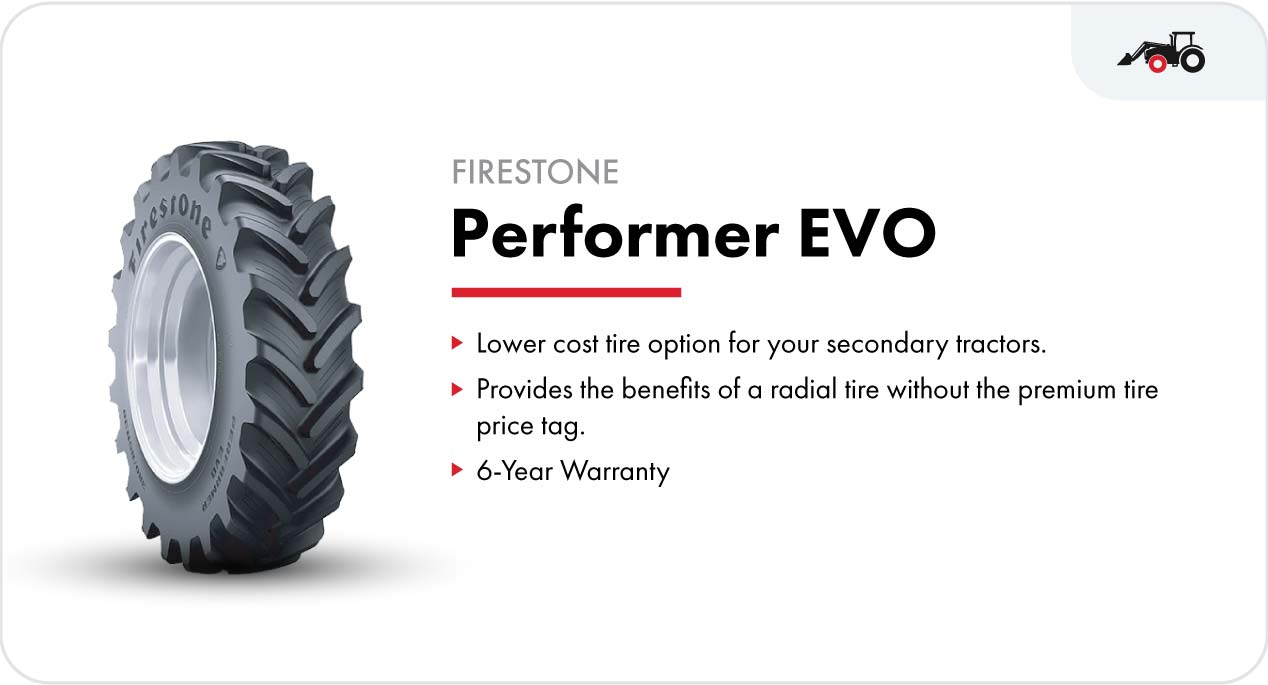 Firestone Performer™ EVO front tractor tire for loader tractors