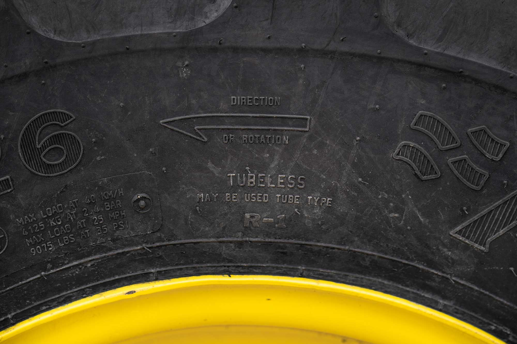The tractor tire's sidewall tells whether or not the tire can be used without a tube.