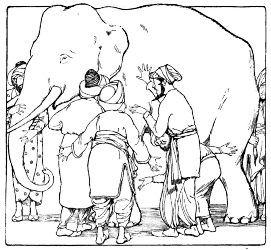 men touching an elephant