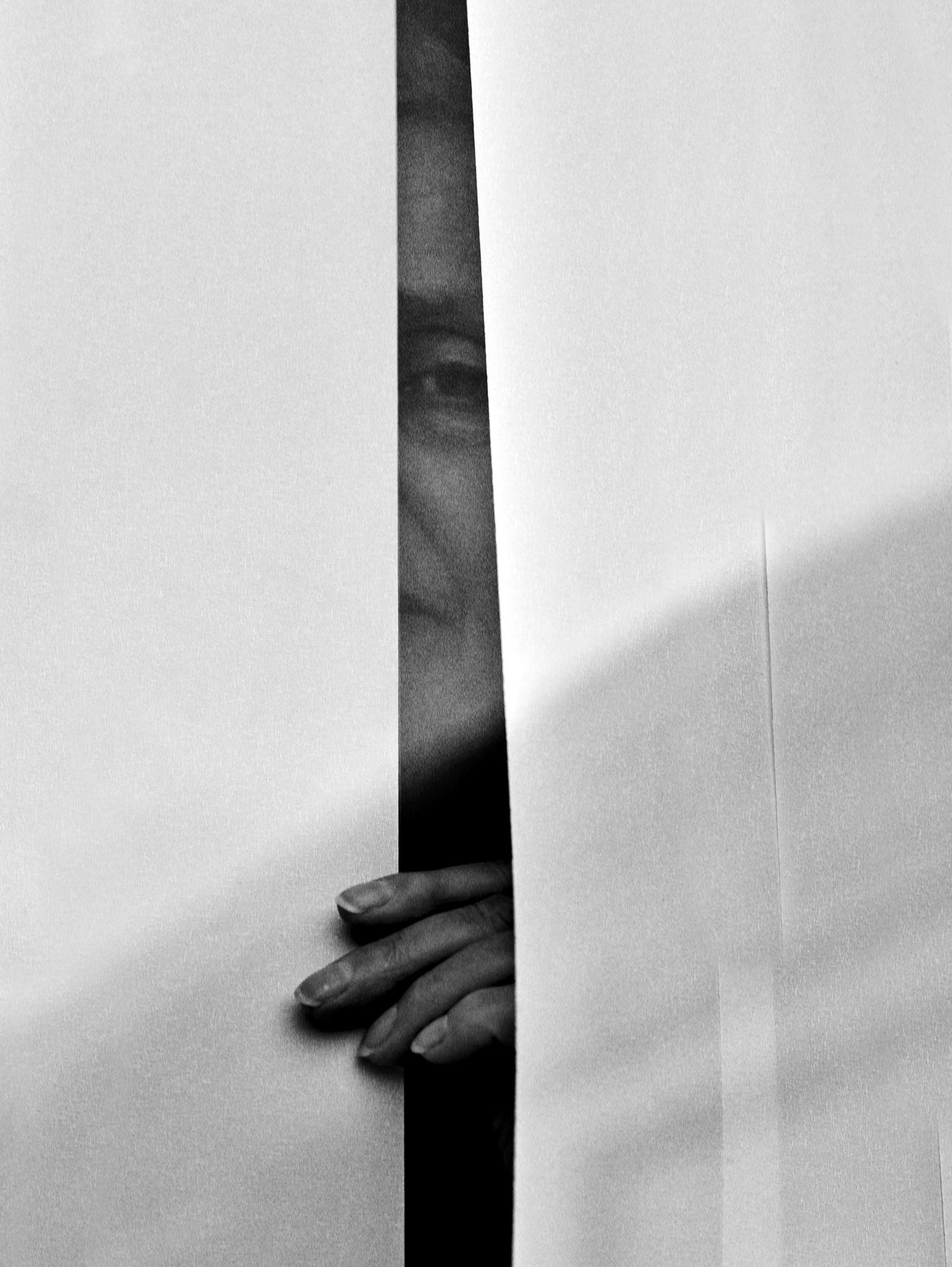 Peering through the blinds, mum, 2020 By Ioannis Koussertari.