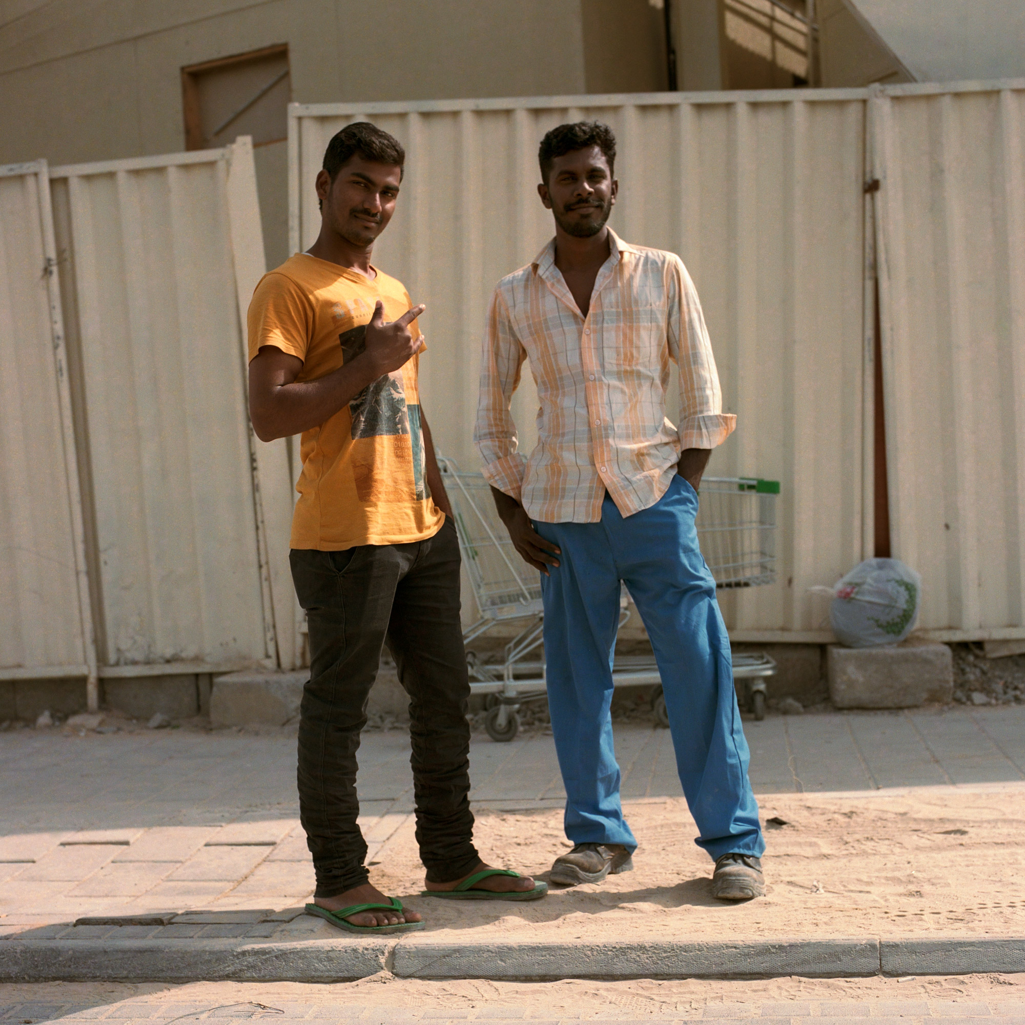 Indian construction workers out of work hours. Dubai Labourers
