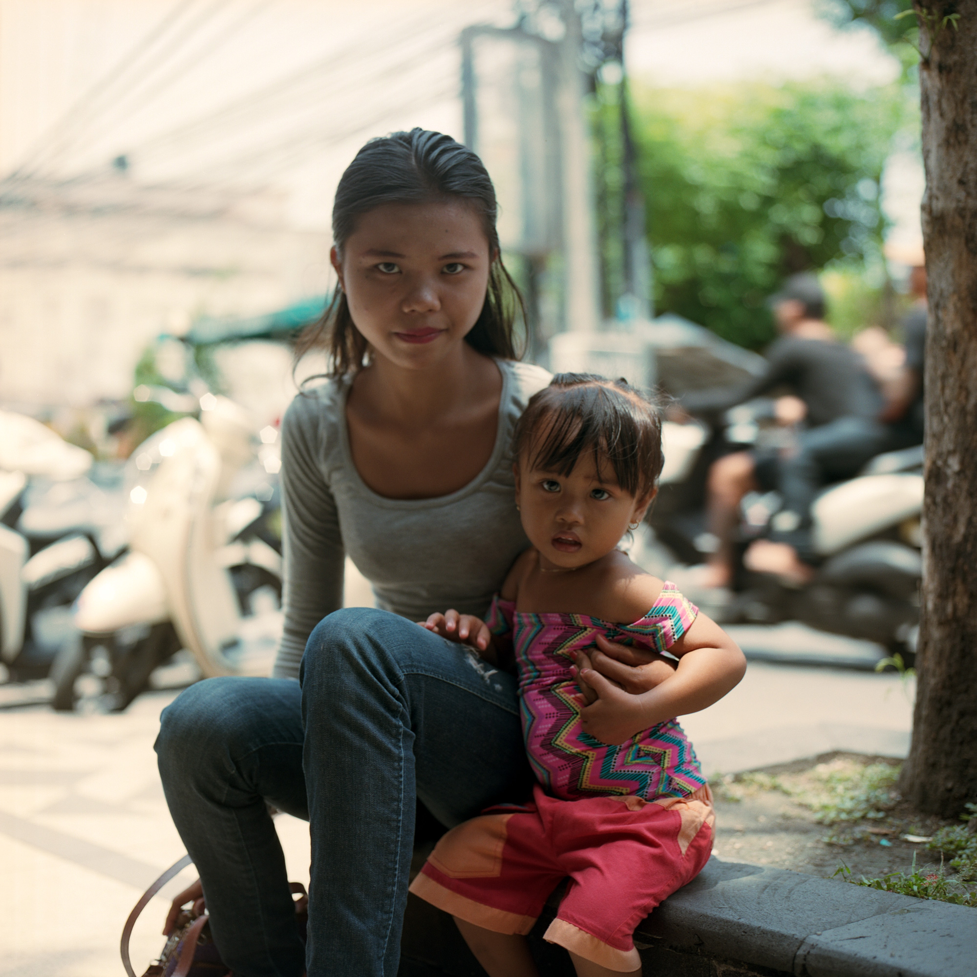 Mum And Daughter Kuta Streets, Bali, Eastern Travels, Photography By Ioannis Koussertari