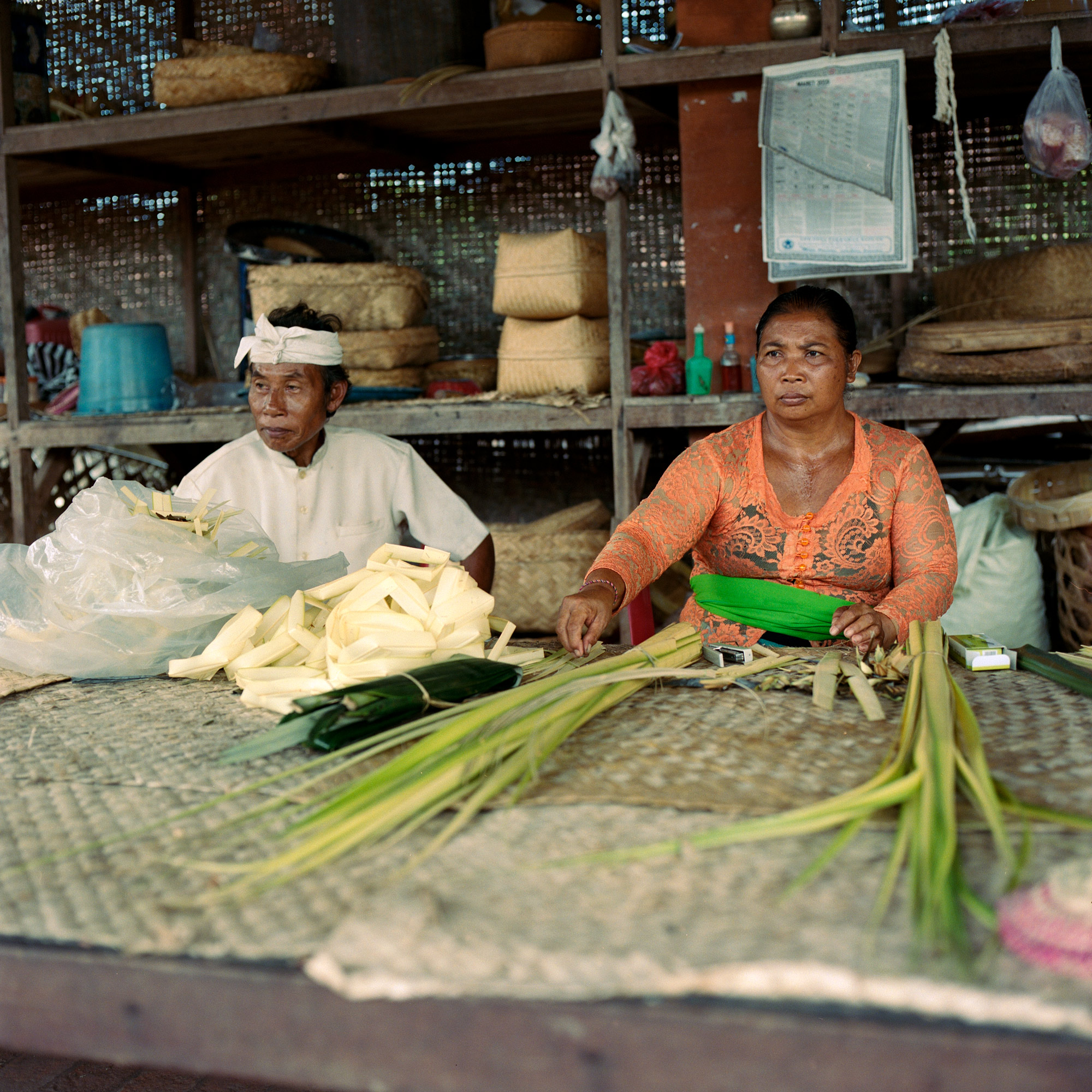 Weaving Coconut Leaves, Singapadu, Ubud, Eastern Travels, Photography By Ioannis Koussertari