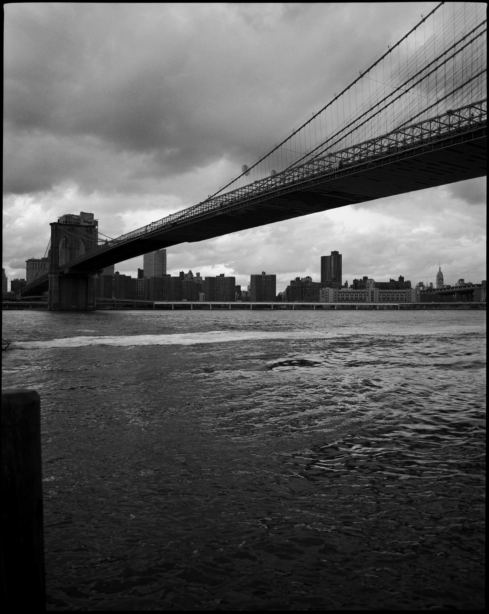 Brooklyn Bridge 2016, black and white cityscape by Ioannis Koussertari.