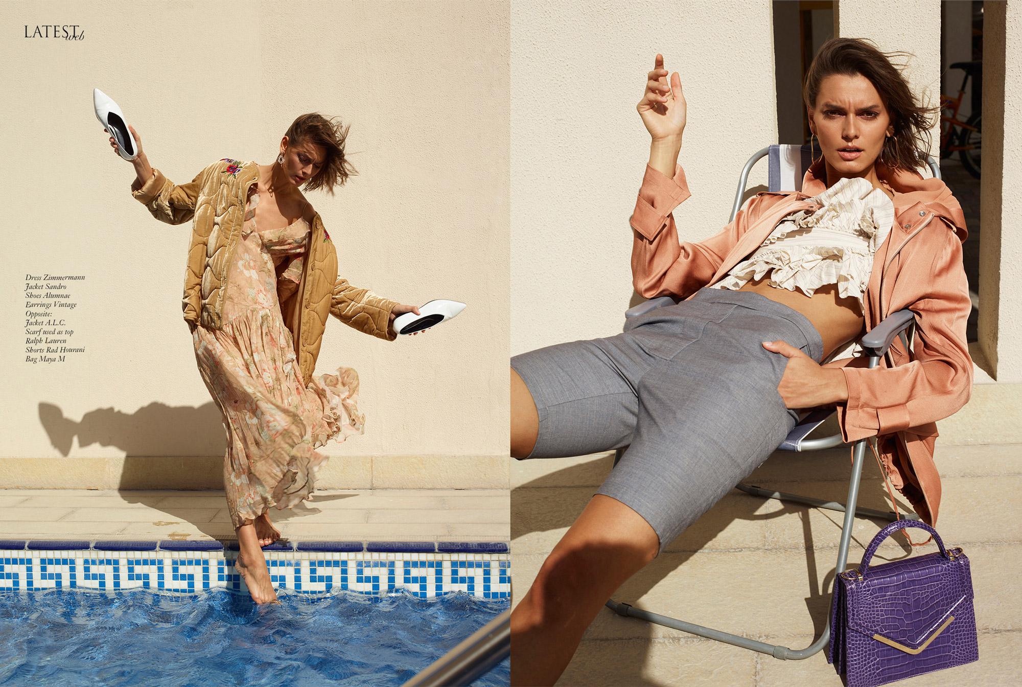 Memories, Klaudia Zdanowicz, model by the pool in  Dubai editorial for Latest magazine. By Ioannis Koussertari