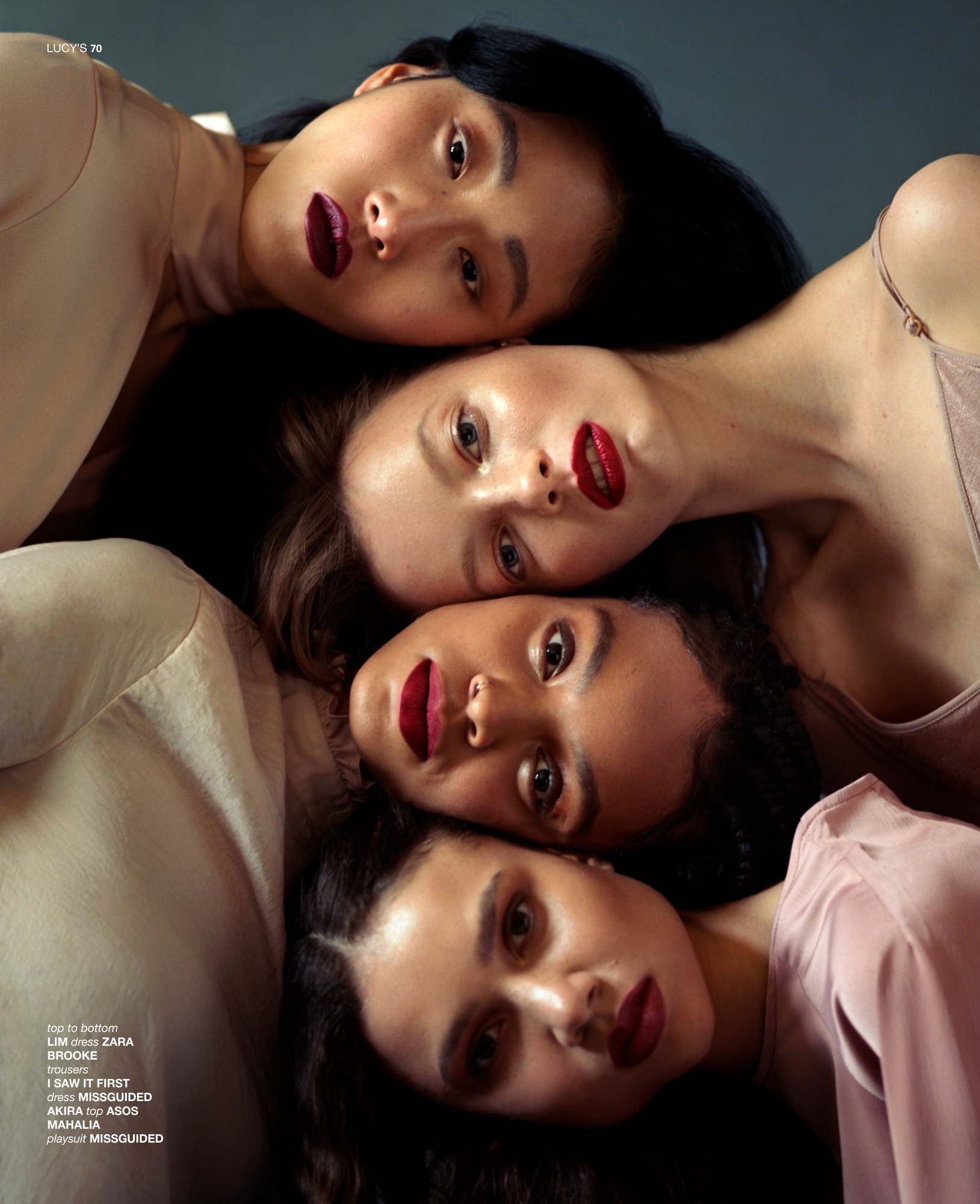 Shades Of Beauty, story for Lucys Magazine, Photography By Ioannis Koussertari. Featuring Lim Lee, Akira Reid, Mahalia Mensah and Brooke Madsen.