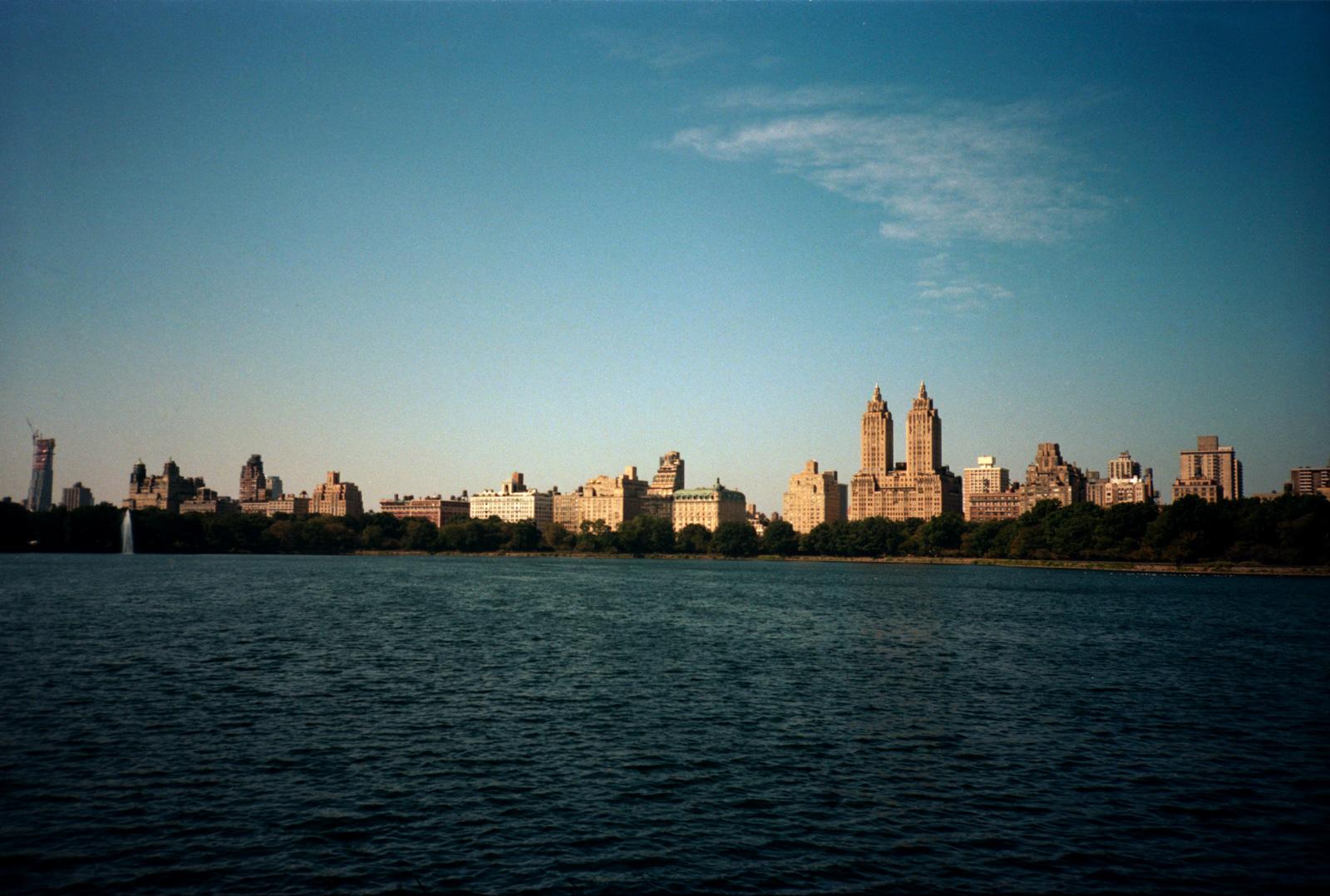 Across Jacqueline Kennedy Onassis Reservoir. Lonely New York Series By Ioannis Koussertari.