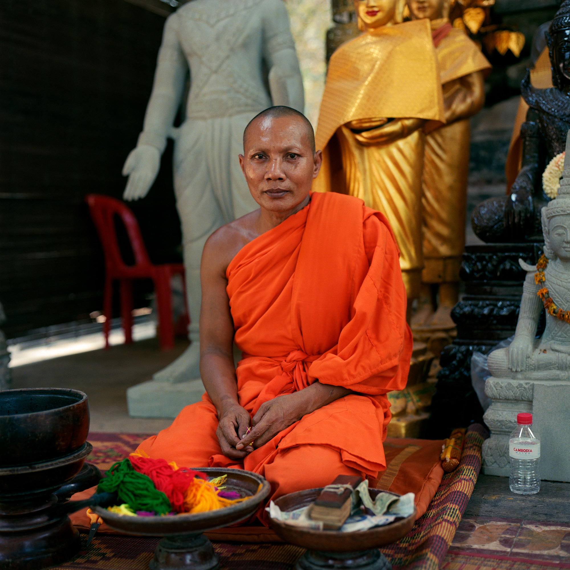Budhist monk at temple near Angkor Wat in Siem Reap Cambodia, Eastern Travels, Photography By Ioannis Koussertari