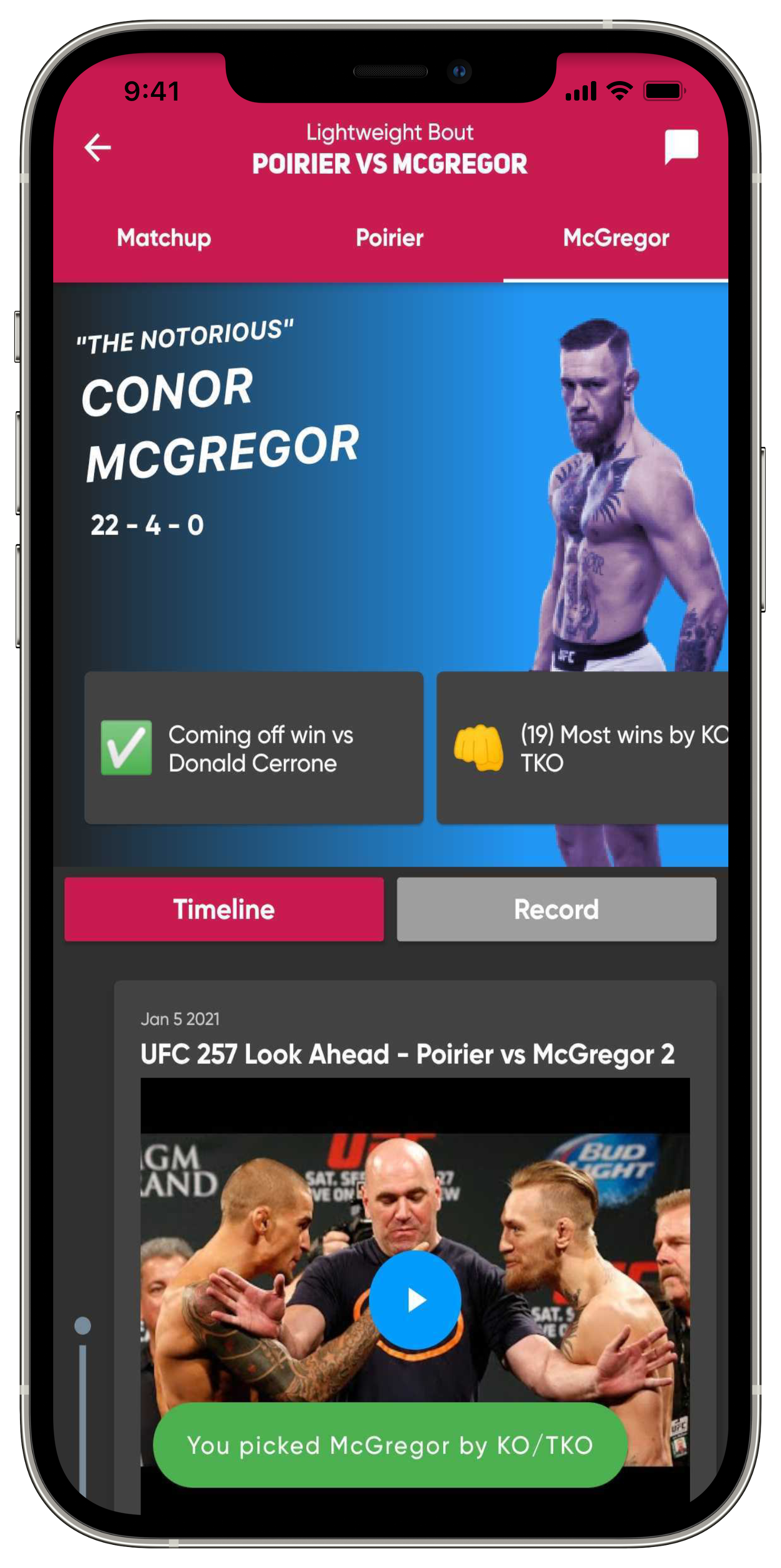 make your fight picks using UFC statistics and fight odds. Full Fighter records, fighter timelines and next opponent highlights. Can Conor McGregor beat Dustin Poirier in a trilogy fight?