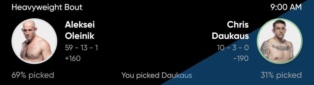 Adam Martin picks Chris Daukaus to win over Aleksei Oleinik at UFC Vegas 19