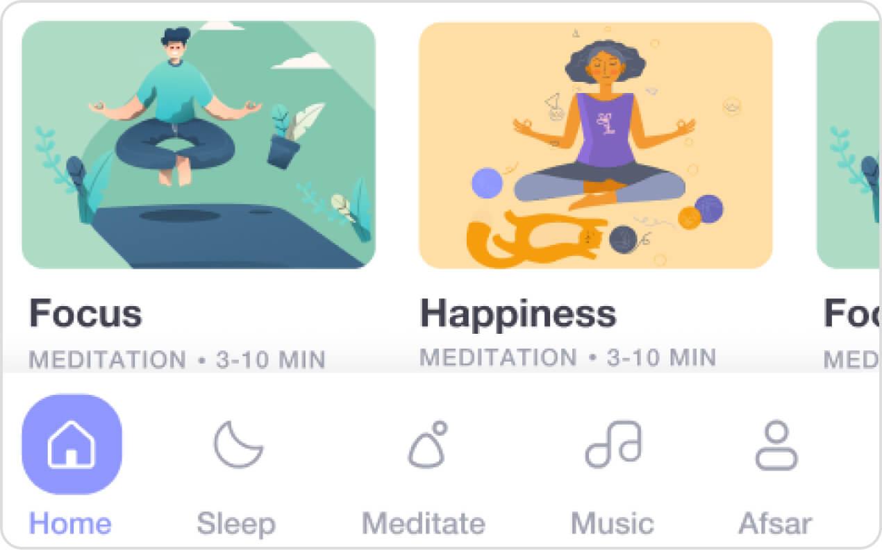 Meditation app sample screenshots.
