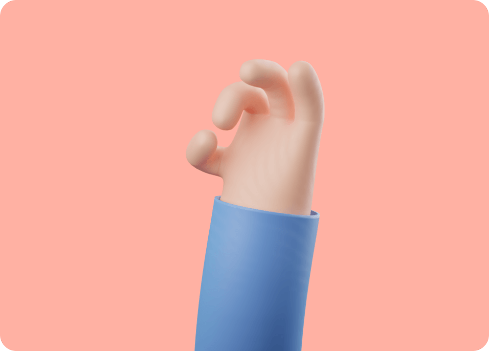 Saly 3D illustration of a hand on bright background.