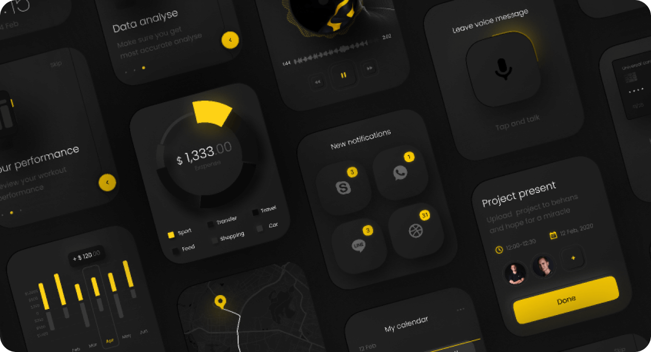 Boro UI app sample interfaces and components.