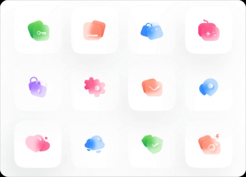 Sample glass icons.
