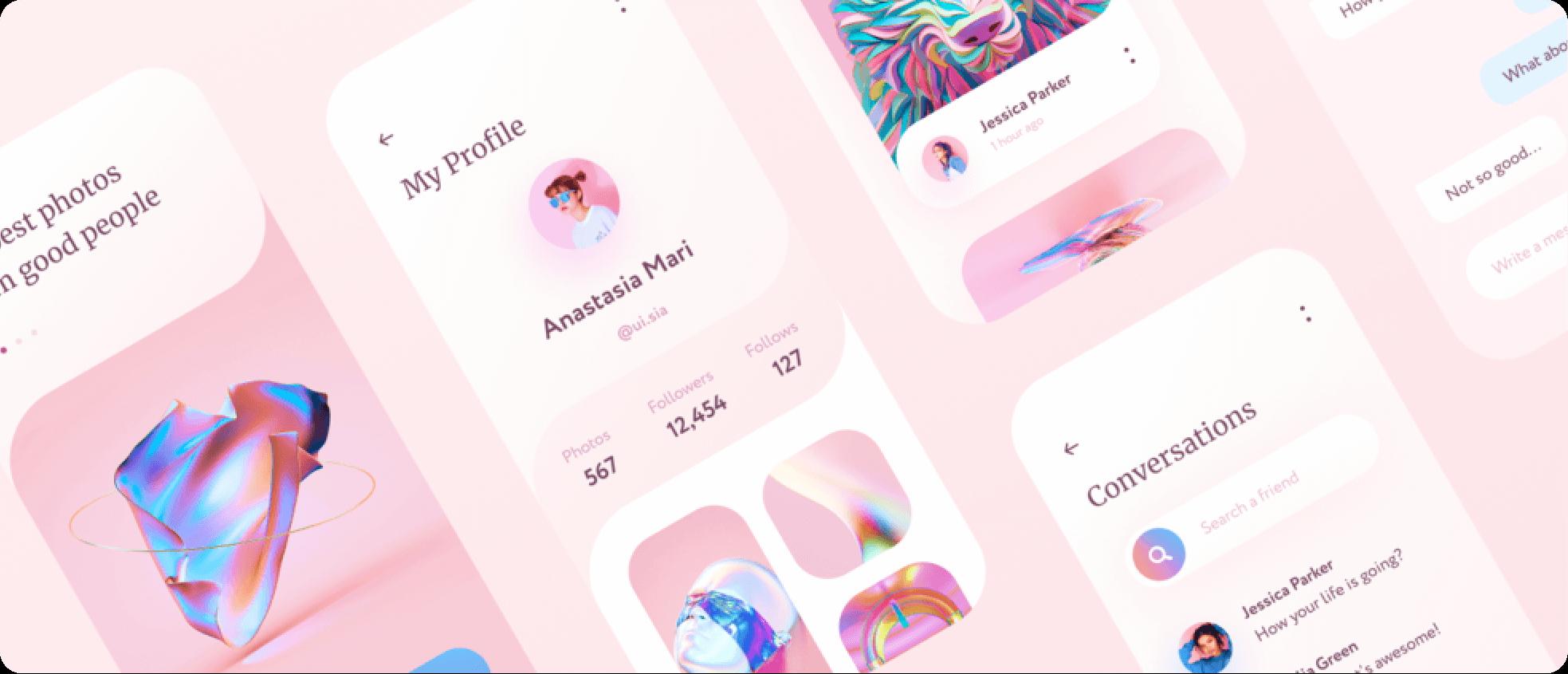 premium pink UI app template screenshot