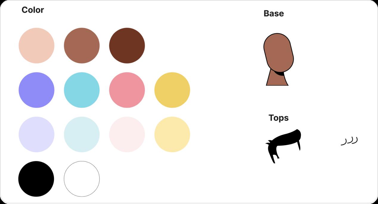 Sample of items of the avatar illustration builder kit.