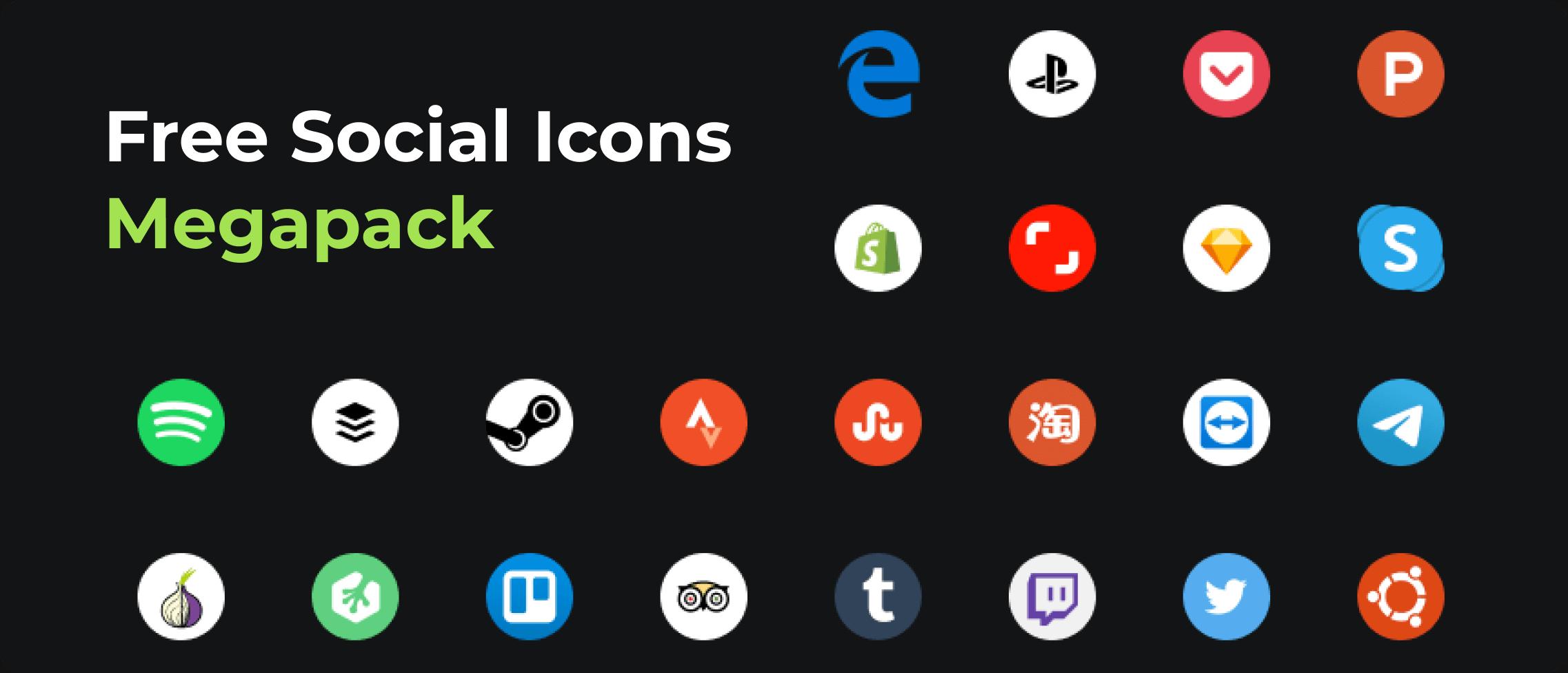 Sample selection of social media logos.