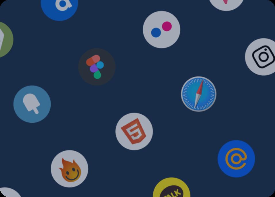 Sample selection of social media logos on blue background.