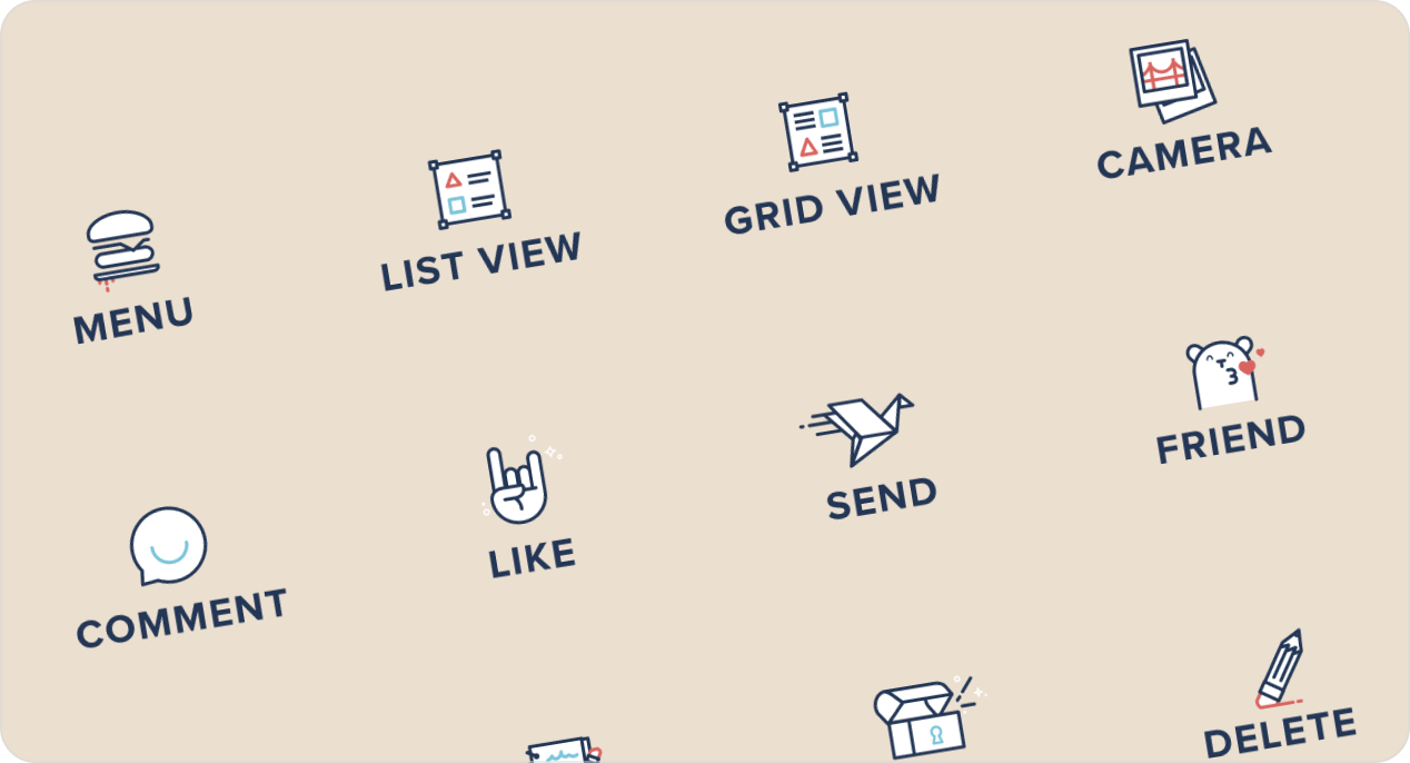 Set of icons from the Iconic cute icon pack.