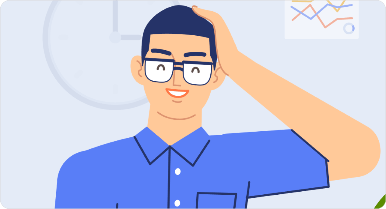 Illustration high quality of smiling man with glasses.