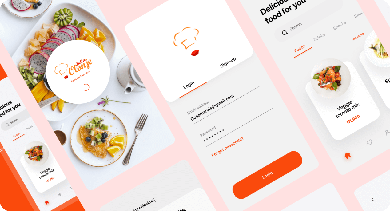 Food delivery app template free UI examples.