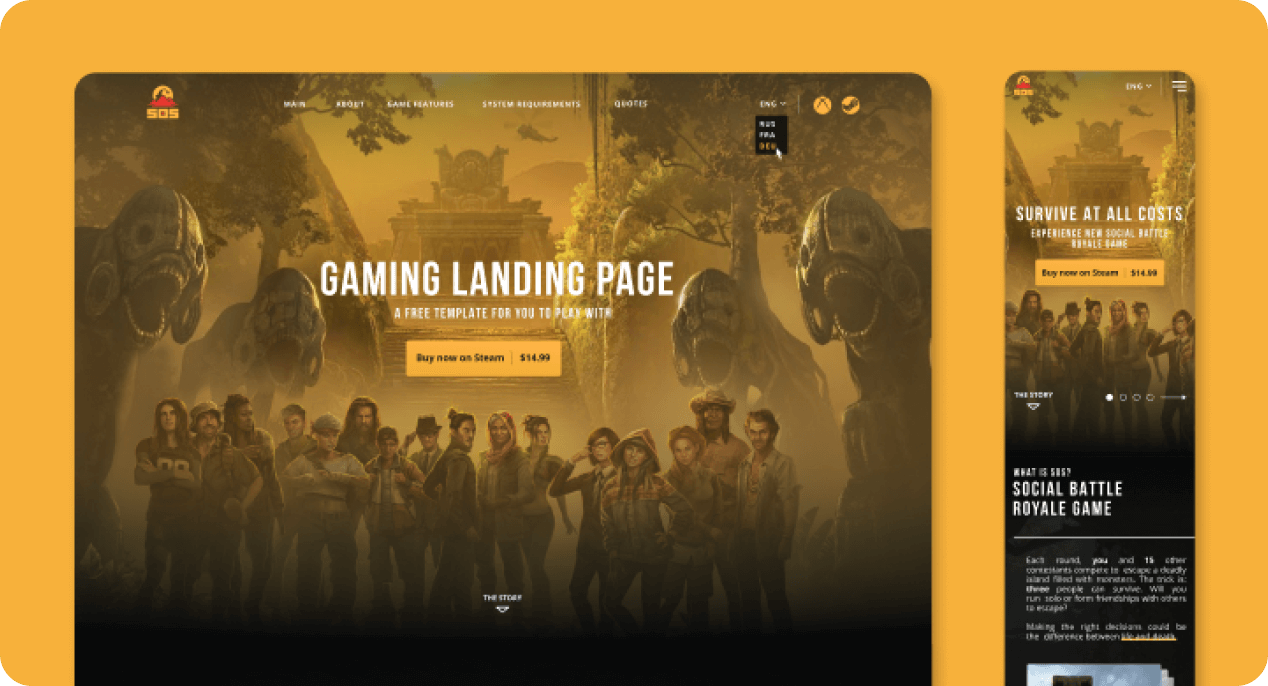 Sample screens in desktop and mobile of gaming landing page template.