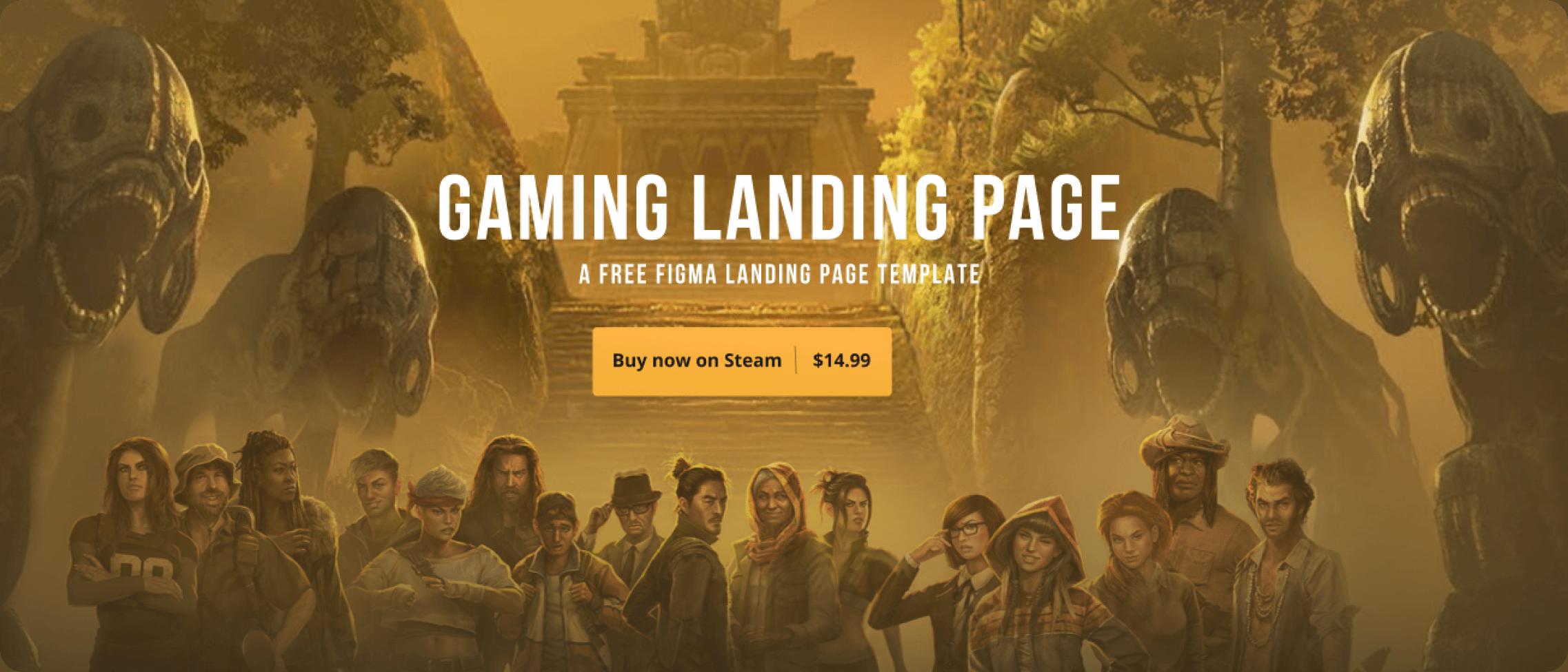 Gaming Landing Page hero section.