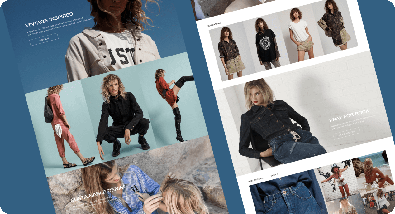 Sample screens of Modnikky  fashion template.
