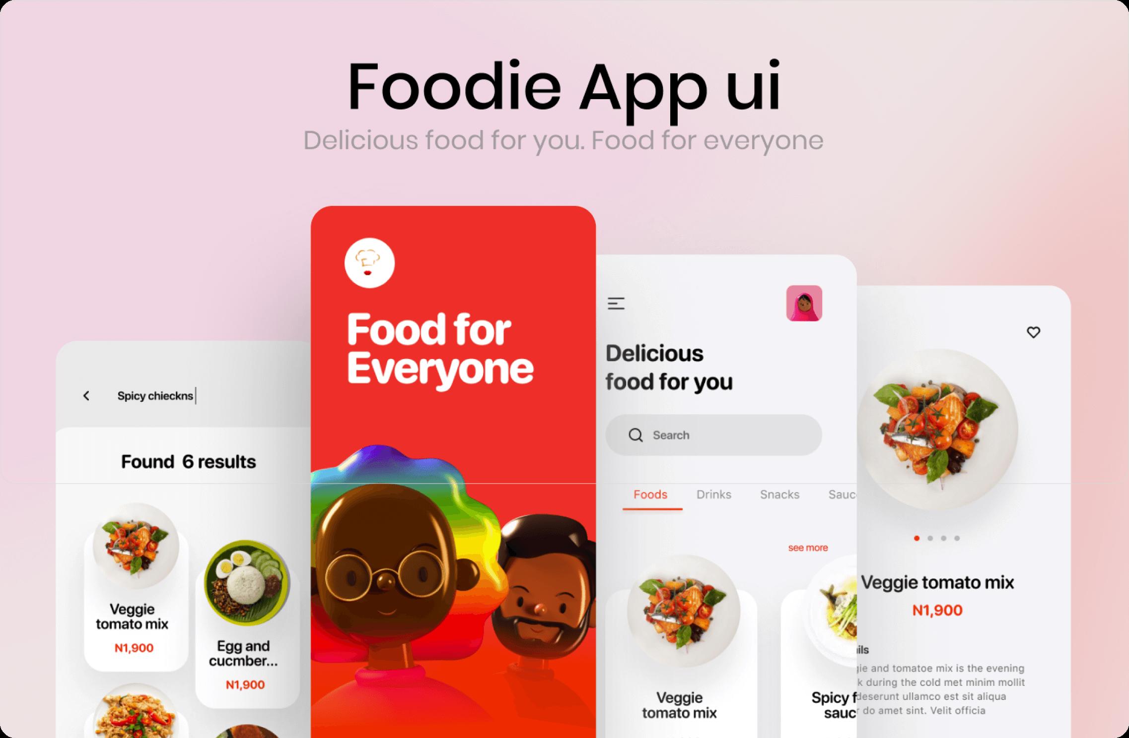 Foodie app ui sample mobile screens.