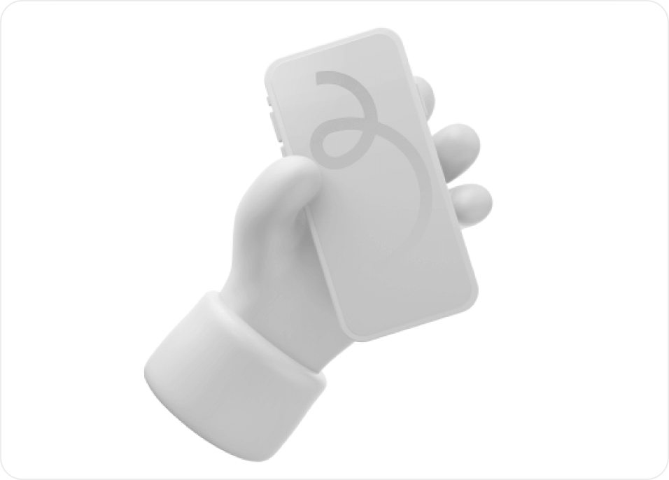 3D hands holding an iPhone in white.