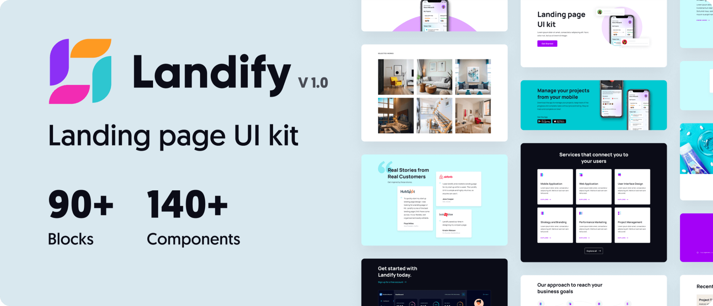 Landify UI kit sample screenshots.