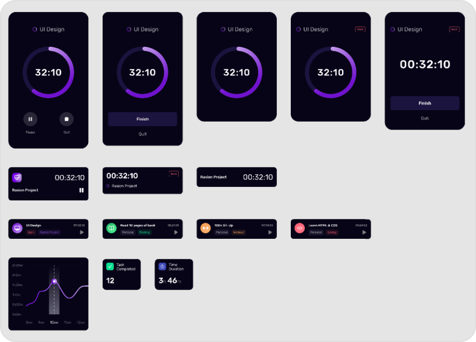 Figma dark mode and light mode example screens of a time tracker app.