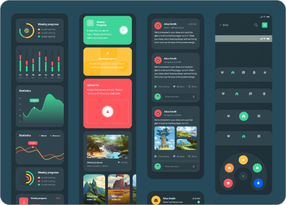 Large selection of Figma dark theme UI components.