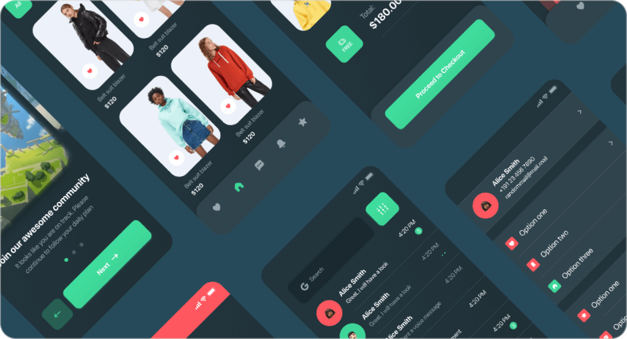 Sample selection of Figma dark theme UI elements at an angle.