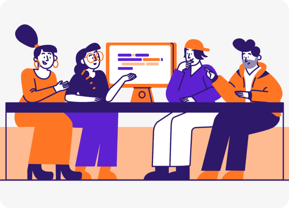 Modern 2D illustration of four people having a meeting.