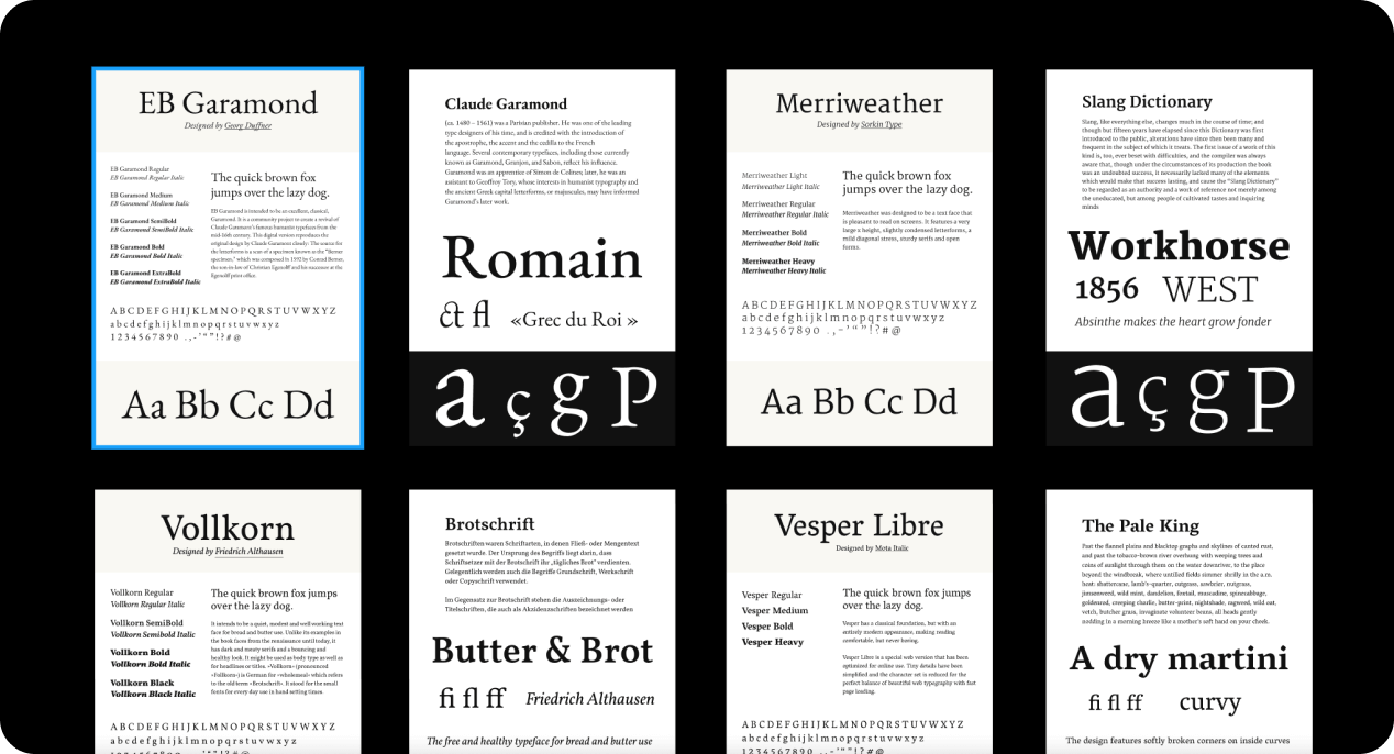 A selection of google fonts in various sizes on black background.